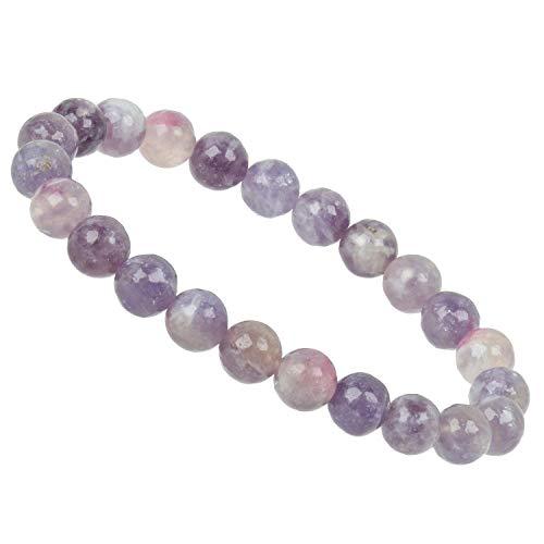ELEDORO PowerBead 8mm Gemstone Stretch Bead Bracelet of 17-18cm 17 centimeters pink