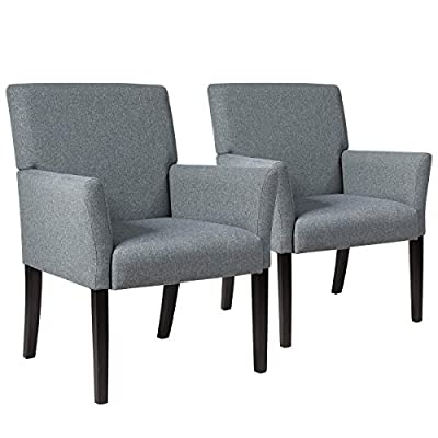 Giantex Fabric Upholstered Guest Chair Set of 2, Reception Chair w/Comfortable Backrest, Padded Arms, Wood Legs, Easy Assembly Contemporary Executive Guest Chairs for Meeting Room, Office, Grey (2)