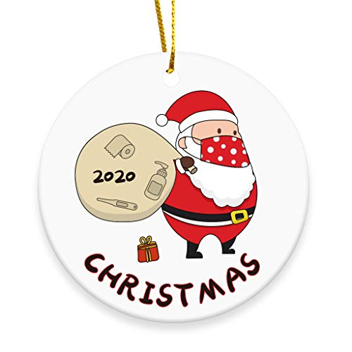 SEUGKE 2020 Merry Christmas Ornaments Gift, Cute Santa Claus Xmas Tree Ornament Hanging Accessories - 3 INCH Round Ceramic Holiday Home Decor