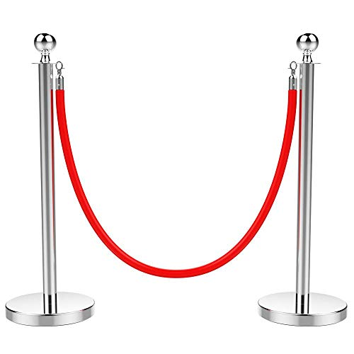 Yaheetech Personenleitsystem Absperrständer Abgrenzungsständer Absperrpfosten Gurtpfosten 2 Edelstahl-Stative und 1 rotes Seil mit 2 m Länge