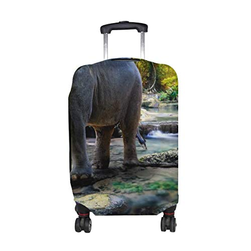 Protector de Equipaje de Viaje con Estampado de Rocas de árboles de Agua de Elefante, Funda para Maleta de Equipaje de 18 a 21 Pulgadas