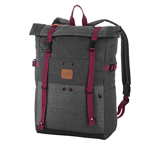Rada Freizeitrucksack Rolltop Wodz Big Rolltop, Daypack für Damen und Herren, wasserabweisender Schulrucksack für Mädchen und Jungen (schwarz/grau)