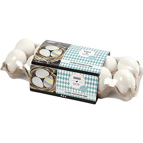 Huevo, Plástico, A. 6 cm, blanco, 12ud