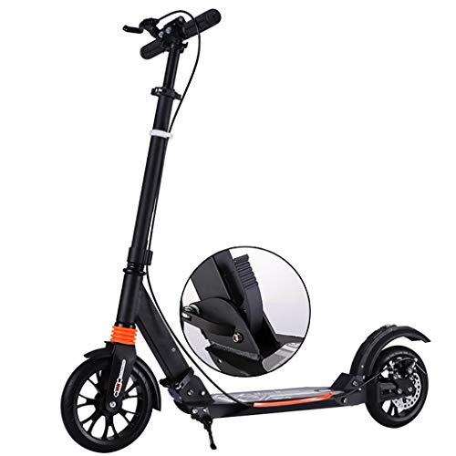 WYQ Kick Scooter con Frenos de Disco, Scooters de Empuje de aleación de Aluminio no eléctricos, Altura Ajustable Scooter de cercanías for Mayores de 12 años Adolescentes/Adultos (Color : Negro)