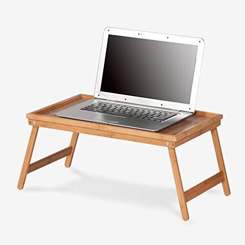 HJCA Klaptafel, inklapbaar voor het bureau van notebooks, hoogte dienblad, speeltafel en bamboe voor kantoor, campingtafel