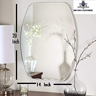 Seven Horses Frameless D-Shape Bevelled Wall Mirror for Dressing,Bedroom,Bathroom, Living Room,Entrance and Makeup Mirror (14 inches X 20 inches)