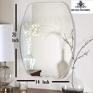 SEVEN HORSES Frameless D-Shape Bevelled Glass Wall Mirror for Dressing, Bedroom, Bathroom, Living Room (14 X 20 inches) White