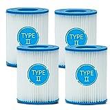 woejgo Cartucho de filtro para piscina de Bestway, tipo II, filtro de piscina para piscina, filtro de limpieza de piscina, 4 unidades