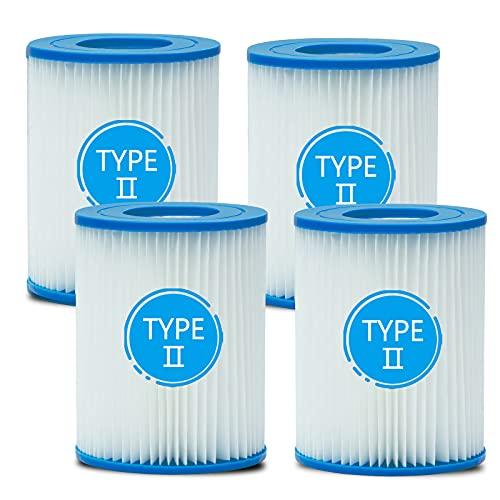 woejgo Pool Filterkartuschen Größe 2 für Bestway, Typ II Pool Spa Filter für Schwimmbecken, Poolreinigungsfilter Ersatz Filterkartuschen, 4 Stück