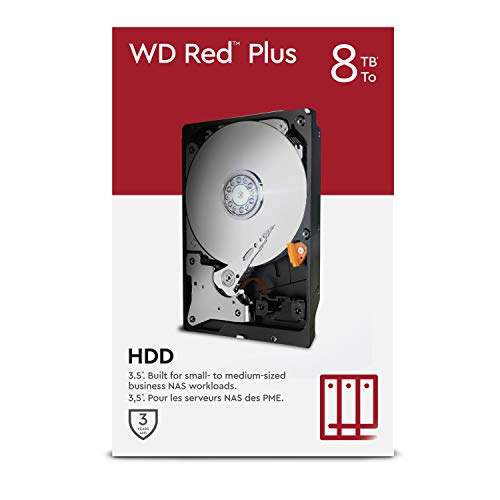 "WD Red Plus 8 TB NAS 3.5"" Interne Festplatte – 7200 RPM Class, SATA 6 Gbit/s, CMR, 256 MB Cache"
