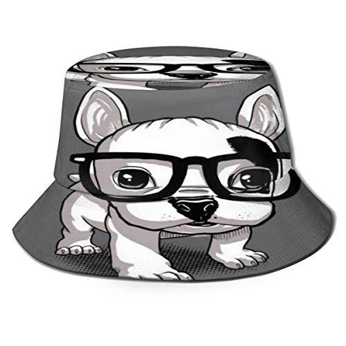 Beyond Loser Sombrero de Pescador Gafas de Sol de Dibujos Animados Law Dog en Gris Algodón Plegable Bucket Hat para Excursionismo Cámping De Viaje Pescar