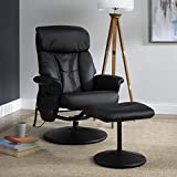 OFM Essentials Collection Heated Shiatsu Massage Bonded Leather Recliner and Ottoman, in Black