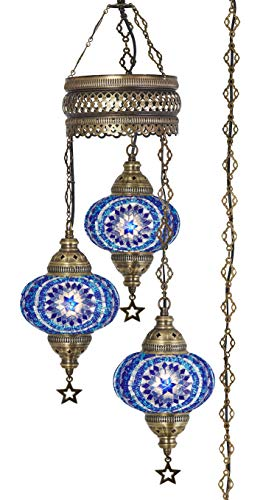 Demmex 2019 Turkish Moroccan Mosaic Hardwired OR Swag Plug in Chandelier with 15feet Cord Cable Chain & 3 Big Globes (Blue Space) (Blue (Plug in))