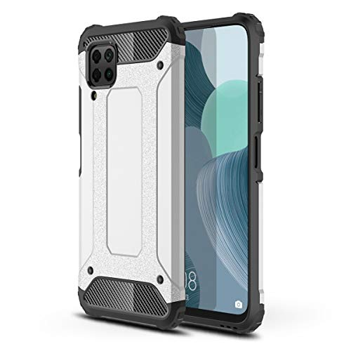 Hicaseer Huawei P40 Lite Case, Dual Layer Hybrid Rigid Soft Armor Shock Resistant Hybrid Case TPU + PC Bumper Frame Protective Cover for Huawei P40 Lite - Silver