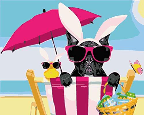 Verf door Numbers Kits met Borstels en Acryl Pigment DIY Canvas Schilderen voor Volwassenen Beginnerchristmas Decor Decoraties Geschenken-Strand Rode Paraplu Dierlijke Hond 60x80cm