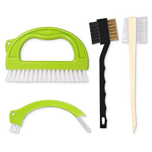 ORIA Cepillos para Limpieza de Azulejos, 4 en 1 Set de Cepillos para Juntas, Juego de Cepillos Limpiadores para Cocina de Baño,Pisos de Limpieza de Suelos de Casa, Ventanas o Correderas