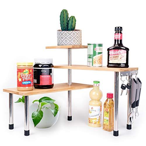 WINNPRIME 3 Tier Corner Shelf Bamboo Storage Rack, Bookshelf Display Shelves, Spice Rack, Adjustable for Kitchen, Office (with Hooks)