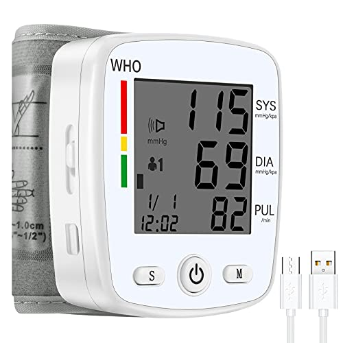 Wrist Blood Pressure Monitor,TSAI Portable BP Monitor Irregular Heart Beat Detection Cuff Automatic with Large Display Screen Support Charging Supply for Home Use (White)