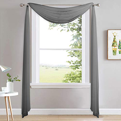 NICETOWN Bed Canopy Scarf Curtains Sheer Textured - Multifunctional Window Topper Scarf Home Decor Voile Valance for Party/Carnival (Sold Individually, W60 x L216, Dark Gray)