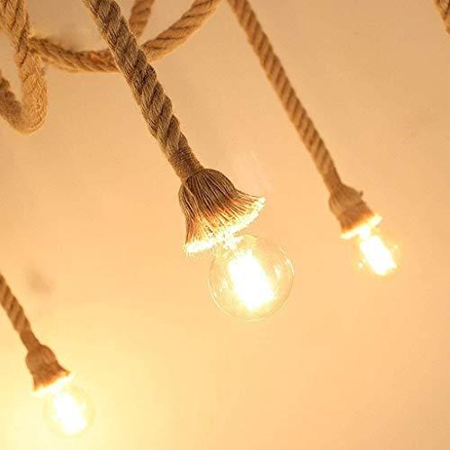 KAIBINY Luz de techo Lámparas colgantes cáñamo de la vendimia de la cuerda de la lámpara de techo ajustable antiguo clásico DIY lámpara de araña retro Edison del bulbo de la lámpara for el hogar peda