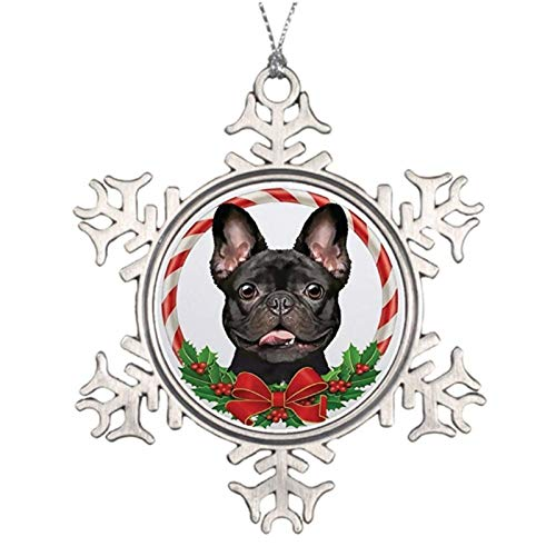 Jeartyca Christmas Ornaments Brindle French Bulldog Decorative Xmas Ornament Farmhouse Collectible Keepsake Snowflake Ornament Crafts