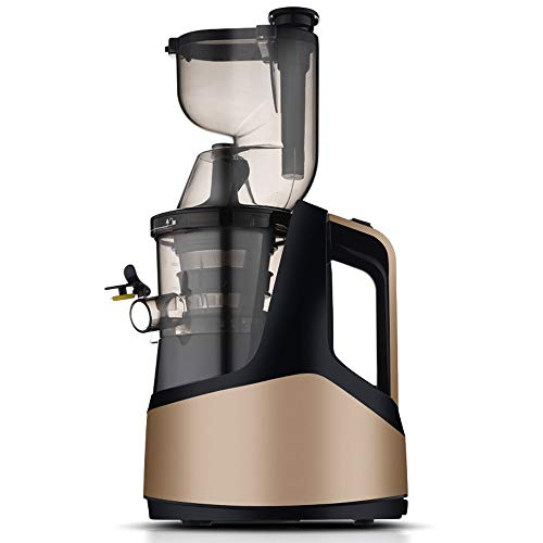Máquina exprimidora Exprimidor de masticación lenta Extractor de jugo de boca ancha Fácil de limpiar Motor silencioso Función inversa Anti-obstrucción Extractor de jugo de prensa fría,Oro