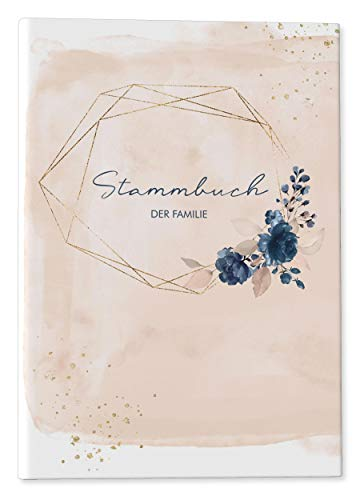 DeinWeddingshop Stammbuch der Familie - Familienstammbuch Hochzeit Standesamt - Watercolor Breeze - Hardcover 16x21cm (rosé)