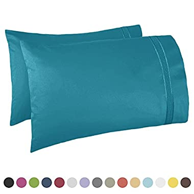 Nestl Bedding Premier 1800 Pillowcase - 100% Luxury Soft Microfiber Pillow Case Sleep Covers - Hypoallergenic Sleeping Encasements - King Size (20 x40 ), Teal Blue/Green, Set of 2 Pieces