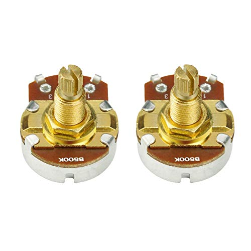 IKN 2 piezas de tamaño completo de la guitarra de volumen del tono de control Ollas B500K lineal de la forma cónica del potenciómetro L18mm de oro largo del eje de Split