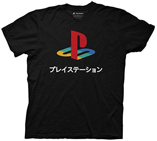 Playstation Logo Japanese Kanji T-shirt (Extra Large , Black)