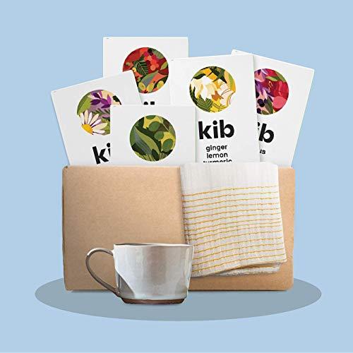Kib Gift Box (Pack of 5 Flavoured Herbal teas Total 75 Tea Bags, Nkuku Tea Cup and Sabahar Tea Towel)