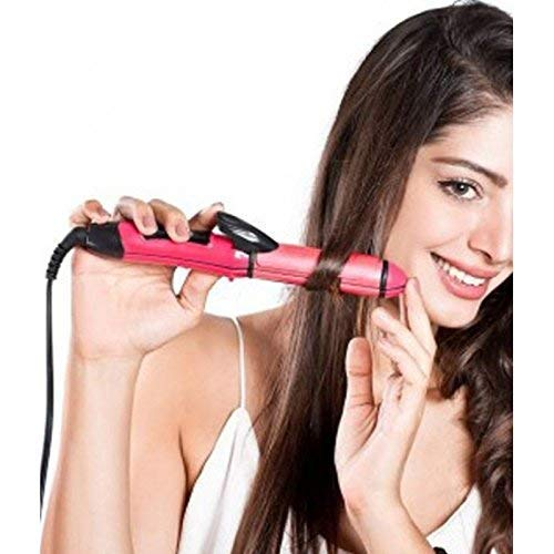 Nova Generic 2 In 1 Hair Straightener And Curler For Women With Ceramic Plate | Hair Straightener And Curler 2 in 1(Pink) With Free Silicon Socks