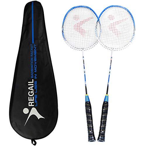Philonext Badmintonschläger, Badminton Set Carbon Badmintonschläger Federballschläger, Leichtgewicht Badminton Schläger, 2 Spieler Badminton Praxisschläger Set