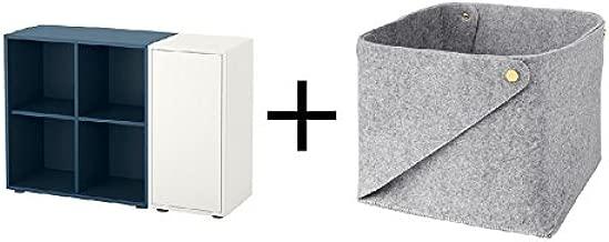 IKEA Storage Combination with feet, White, Dark Blue Size 41 3/8x13 3/4x28 3/8