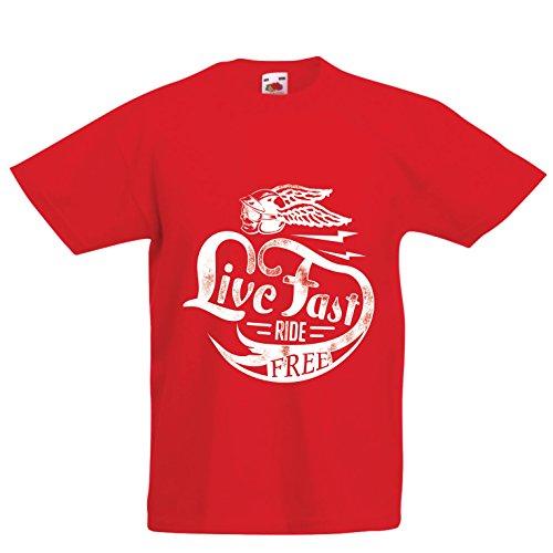 lepni.me Kids T-Shirt Live Fast Ride Gratis - Klassieke Vintage Bikers Kleding, Motorfiets Gear, Bike Quotes