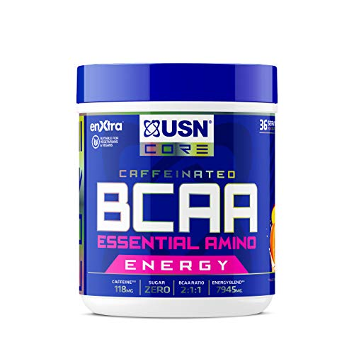 USN BCAA Power Punch Energy, Eaa's with Caffeine, Intra Workout Mango Orange, 36 Servings 400 g
