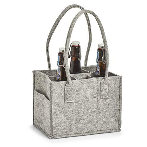 Zeller Filztasche für 6 Flaschen, Farbe grau