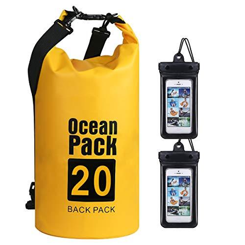 flintronic® Bolsa Impermeable, 20L Mochila Impermeable IP66, para Canoa Kayak Barco Camping Natación Rafting Velo Pesca,Amarillo (Incluye 2 PCS Bolsa Impermeable para Teléfono Celular)