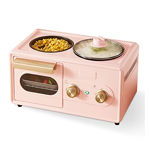 Breakfast Helper Mini Oven Máquina de Desayuno Cuatro en uno 6L, Horno eléctrico de Mesa con Ajuste de Temperatura 30-230 ℃ y Temporizador de 60 Minutos, Horno Tostador con Puerta de Doble acristalam