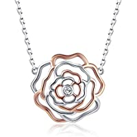Apotie 925 Sterling Silver Flower Rose Pendant Necklace