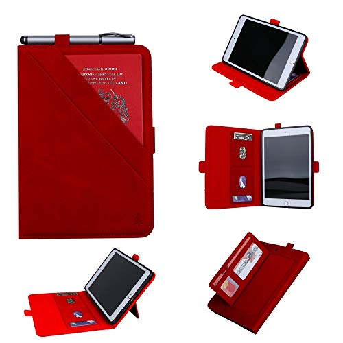 Allcecase Cover Case for iPad Horizontal Flip Double Holder Leather Case for iPad Mini (2019), with Card Slots & Photo Frame & Pen Slot(Black) (Color : Red)