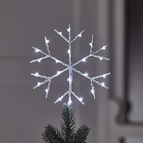 Lights4fun LED Schneeflocke Christbaumspitze mit Timer Weihnachtsdeko Batteriebetrieb