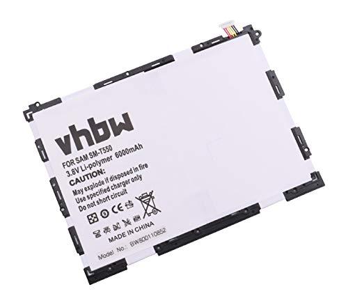 vhbw Li-Polymer Batterie 6000mAh (3.8V) pour Tablette, Netbook Samsung Galaxy SM-P350, SM-P351, SM-P550, SM-P555 comme EB-BT550ABA, EB-BT550ABE.