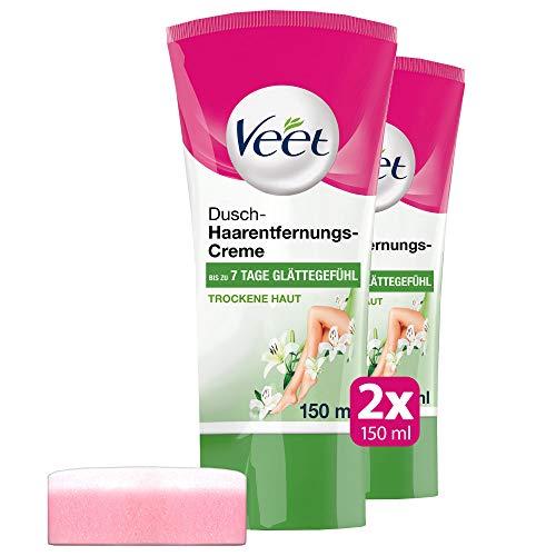 Dusch Enthaarungscreme 2er Pack bei trockener Haut für die Anwendung unter der Dusche Veet Dusch-Haarentfernungs-Creme trockene Haut 2x150ml