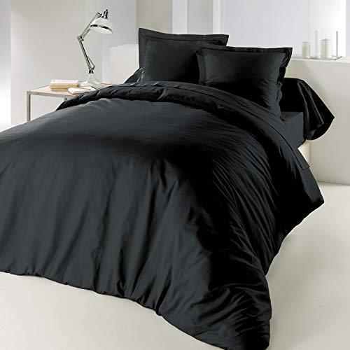 CDaffaires Bettdeckenbezug, 240x220cm, 100% Baumwolle, 57 Fäden/cm², Kohlschwarz