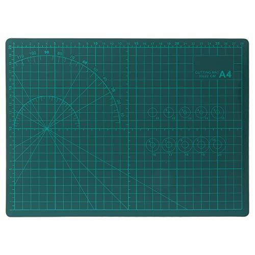 Yintiod Snijmatten A4 Raster dubbelzijdige snijplaat ontwerp gravure model plaat gesmeerde messen schaal plaat gesneden karton voor stof quilten naaien kunst craft tool 220x300mm groen