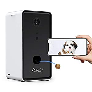 AONESY 2 in 1 Smart Pet Camera with Treat Dispenser,Full HD WiFi Pet Dog Camera with 2-Way Audio 165° Full-Room View Night Vision,remotely Treats Tossing Reward Dog/Cats,Work with iOS/Android/Alexa
