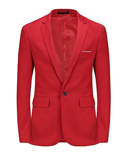 MOGU Chaqueta de Hombre con Solo Botón Blazer de Solapa para Hombre Slim Fit Moda Clasica de Moderno ES Talla 44 (Asiático L) Rojo