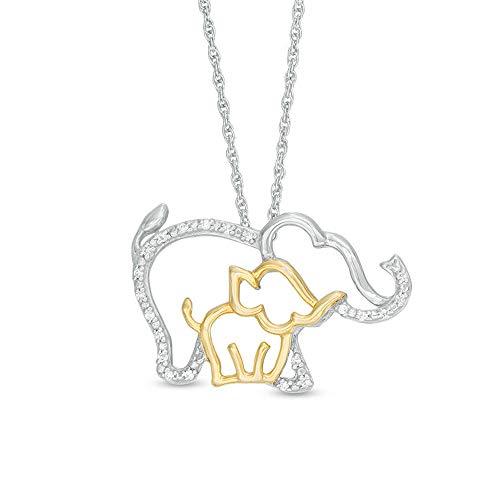 Colgante redondo transparente de 3/4 quilates con diseño de elefante y becerro en plata de ley 925 y oro amarillo de 10 quilates