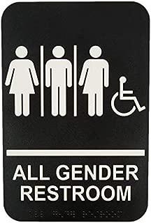 Gender Neutral, Handicap Accessible Sign, Plastic, White on Black-Braille, 6x9